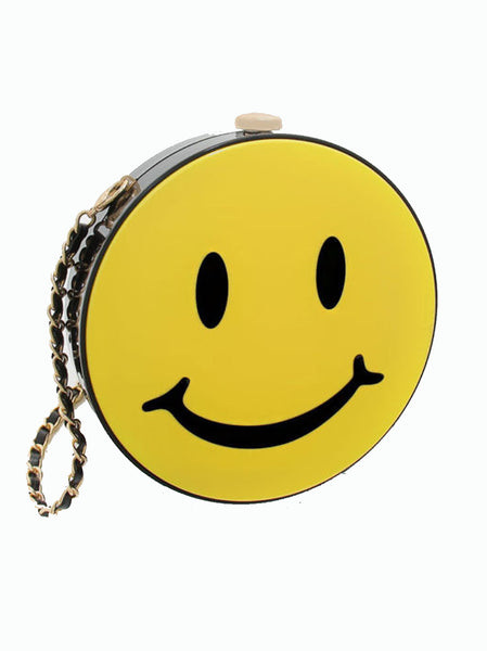 Rounded Smiley Face Yellow Clutch Bag Hard Case - -Bags- Tenner Store - 1