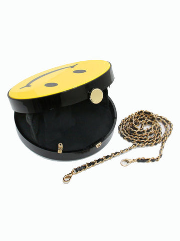 Rounded Smiley Face Yellow Clutch Bag Hard Case - -Bags- Tenner Store - 2