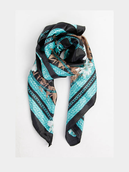 Floral And Chain Printed Scarf - -Scarves- Tenner Store