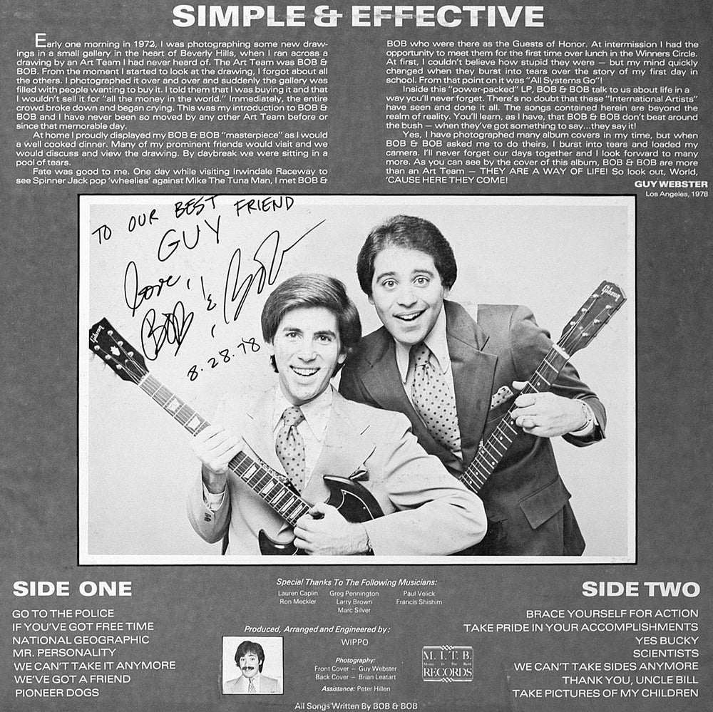 Bob & Bob - Simple & Effective - Back Cover