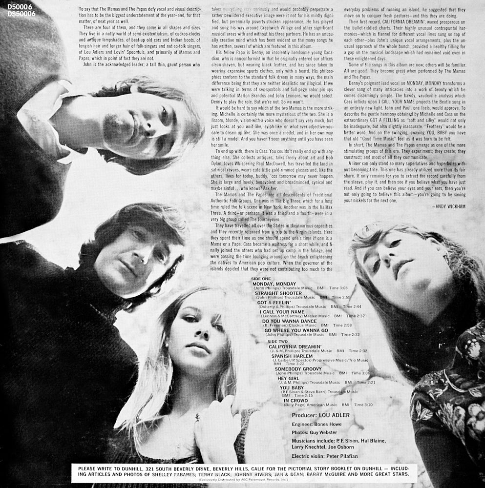 The Mamas and The Papas - If You Can Believe Your Eyes and Ears - Back Cover