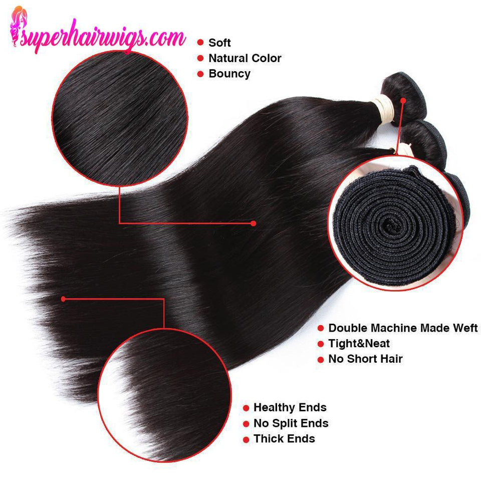 Peruvian Virgin Hair Straight Hair 3 Bundles