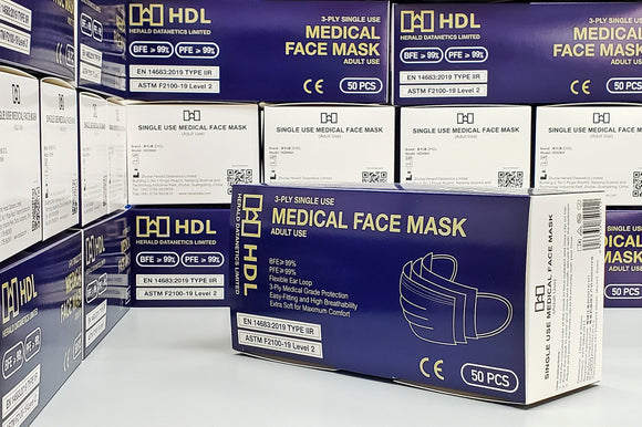 【CASE OFFER 原箱優惠】Medical Face Mask (Adult, Bulk Pack 50 pcs x 40 boxes) ASTM Level 2 & CE