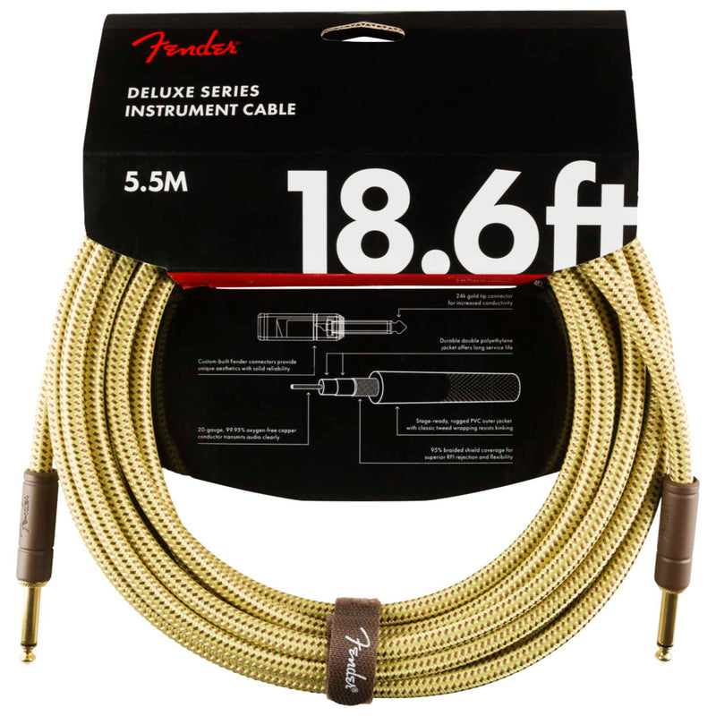 Fender Deluxe Series Instrument Cable - 5.5m Straight to Straight - Tweed