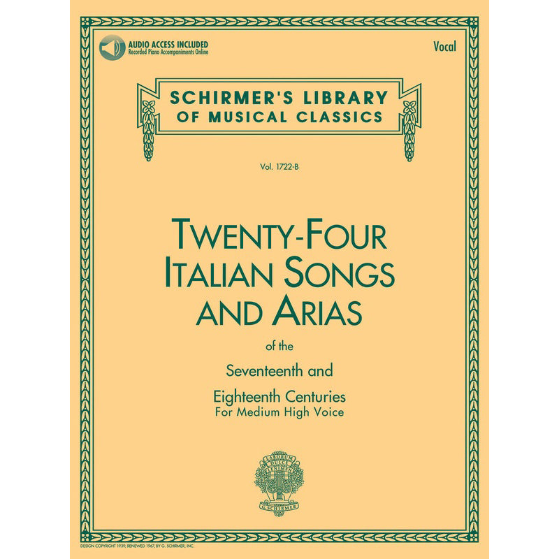 24 Italian Songs & Arias of the 17th & 18th Centuries Med High Voice