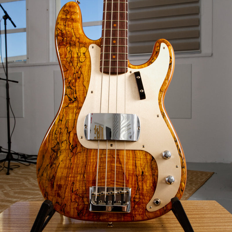 Fender Artisan Spalted Maple Pomo Precision Bass - Aged Natural