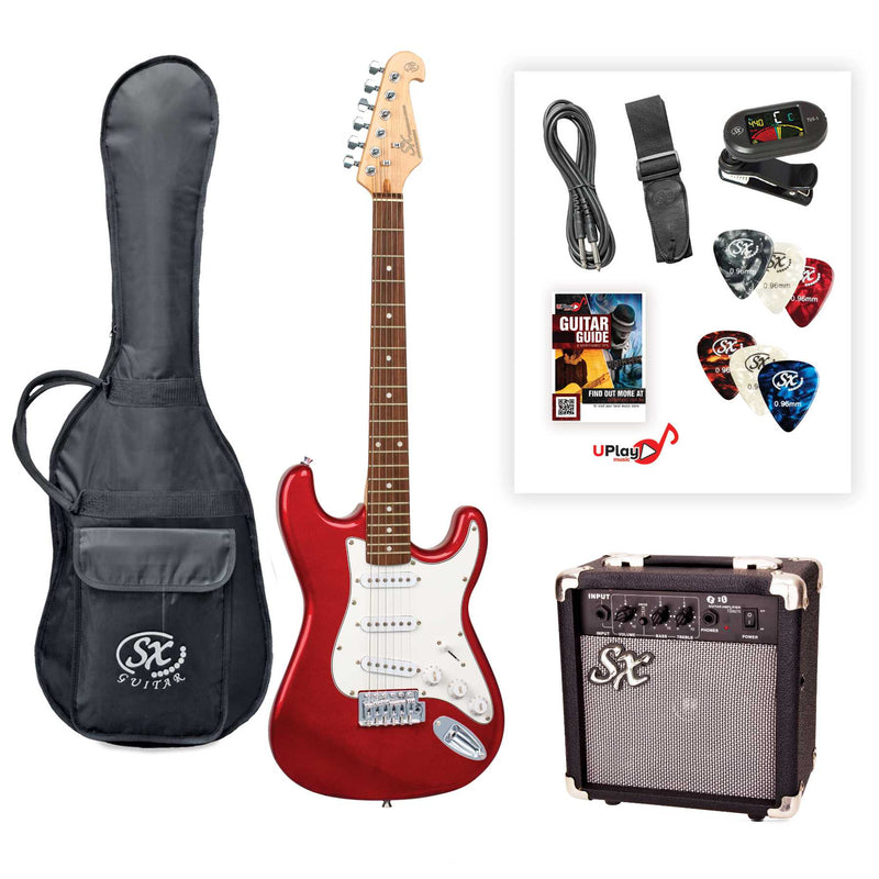 SX SE1SK 3/4 Size Electric Guitar Kit - Candy Apple Red