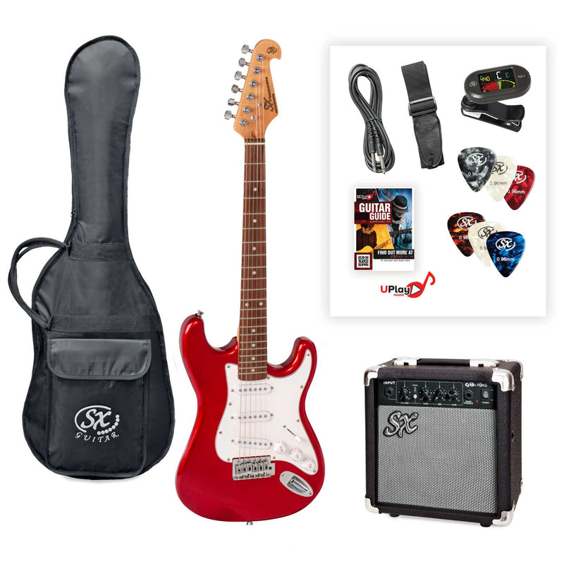 SX SE1SK 4/4 Size Electric Guitar Kit - Candy Apple Red