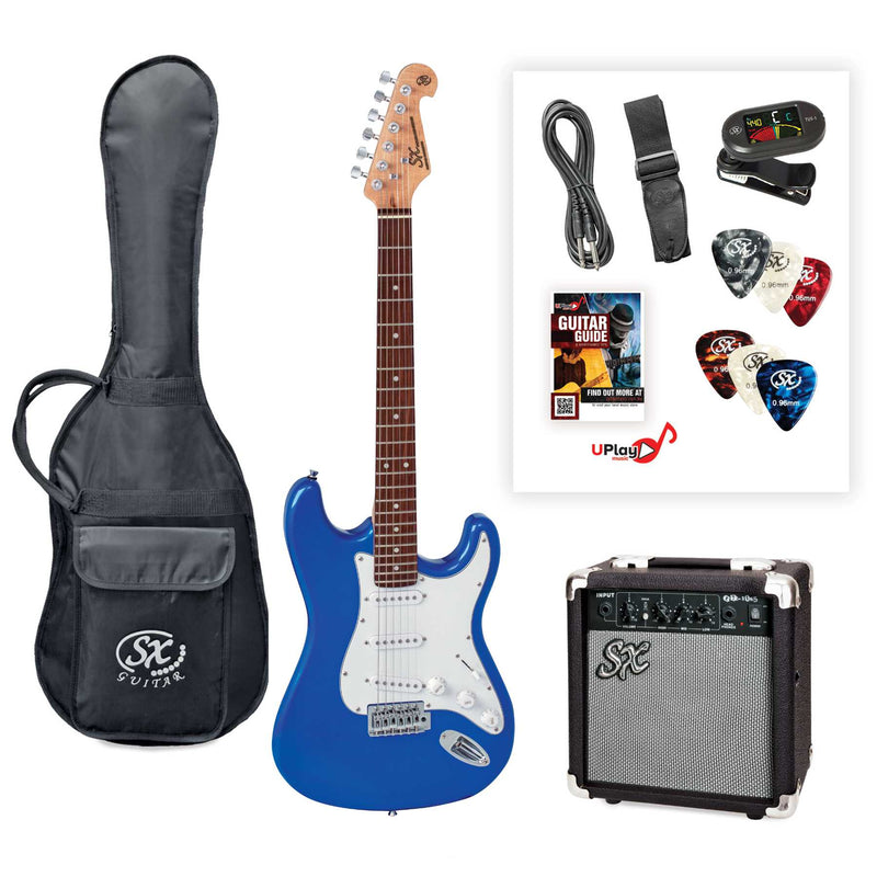 SX SE1SK 4/4 Size Electric Guitar Kit - Blue