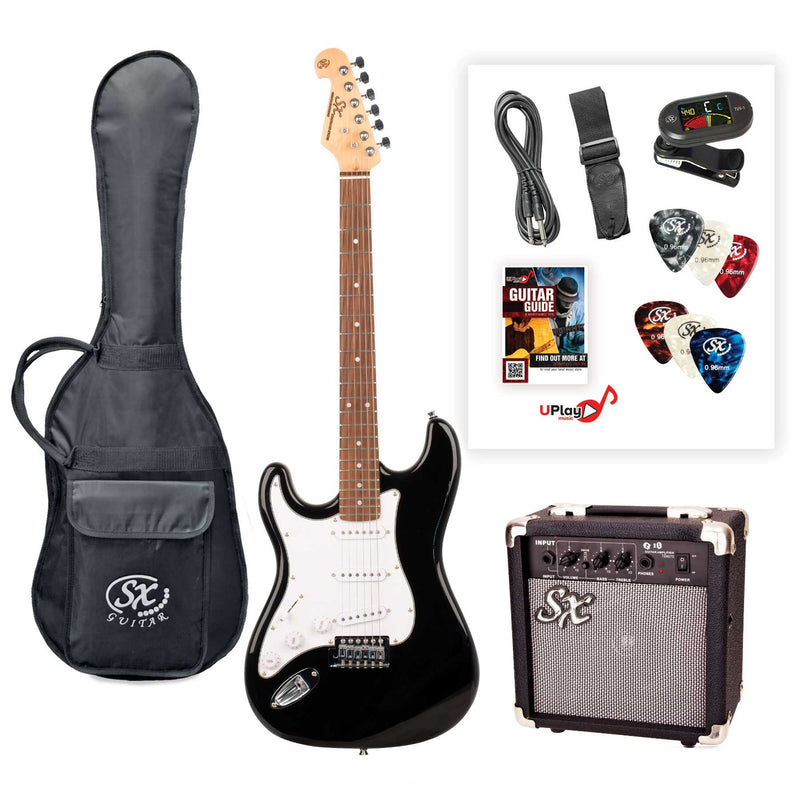 SX SE1SK 4/4 Size Left Handed Electric Guitar Kit - Black