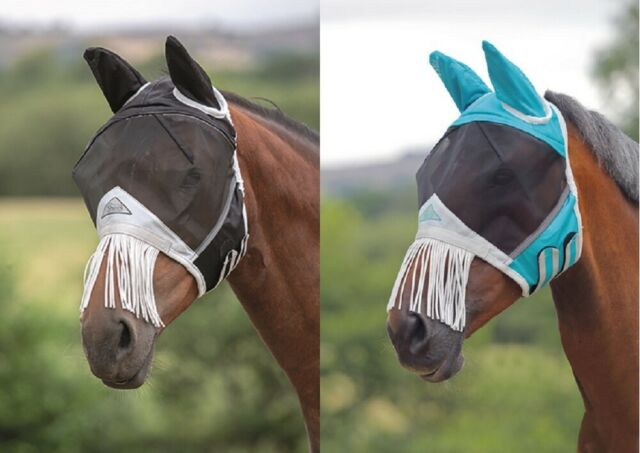 Shires fly mask - Extra Full /Teal - Ears and muzzle fringe