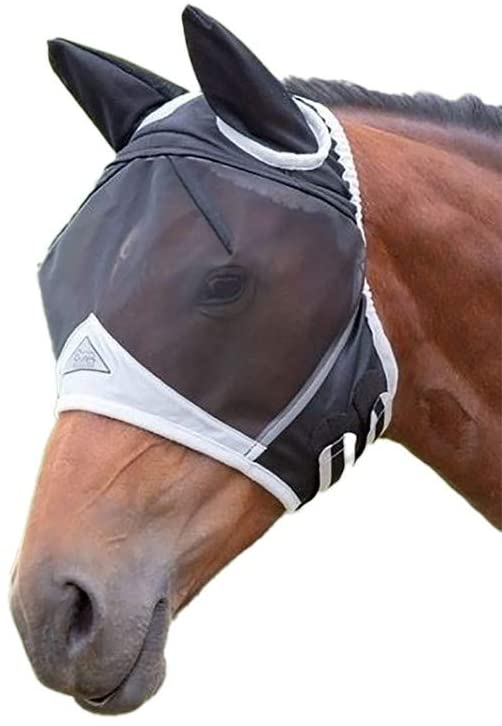 Shires fly mask - FULL /Black field durable with ears