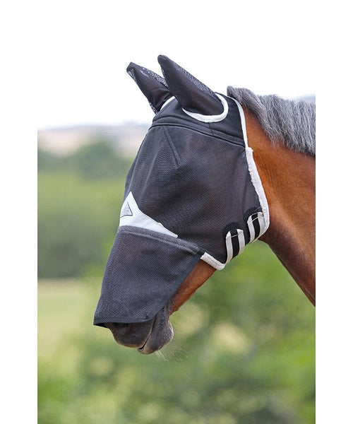 Shires fly mask - COB/Black field durable with ears and nose