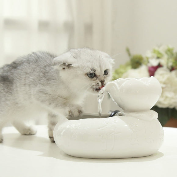 Ceramic Lotus Cat Drinking Water Fountain Bowl