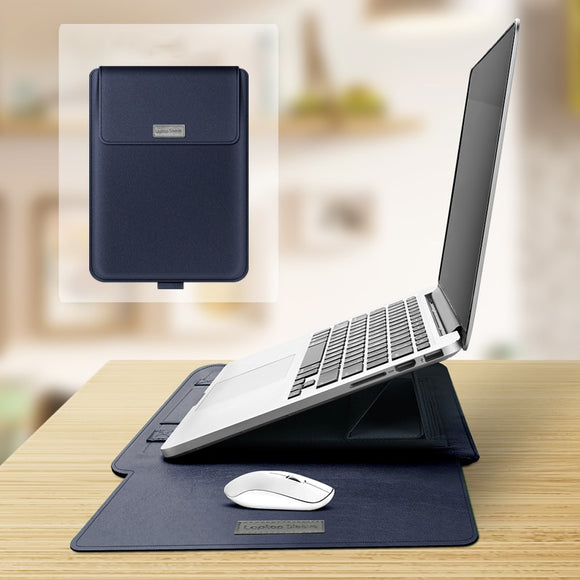 Stylish and professional Ergonomic Laptop Sleeve with built in stand for work or play.