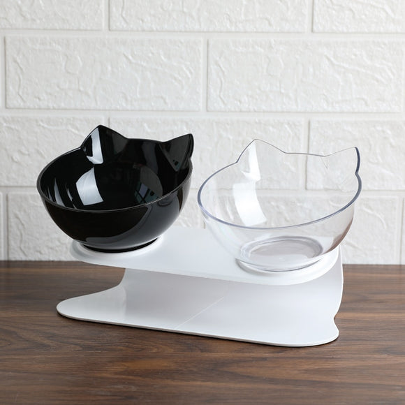 Non-slip Double Elevated Cat Feeder Bowls For Pet Food and Water to Help Avoid Vomiting