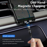 Fast Charging 360 degree rotating Magnetic Cable Charger for Micro USB, Type C, and Lightning Apple Cable