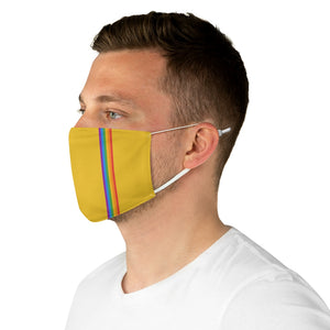 Yellow Rainbow Stripe Fabric Face Mask