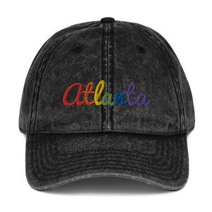 Rainbow Atlanta Vintage Cotton Twill Cap-Headwear-ATLPride.com