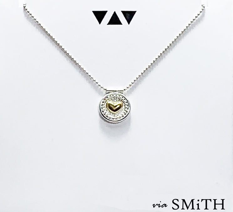 The Circled Heart Pendant Necklace (NK54)