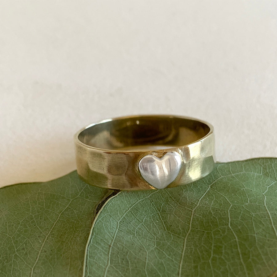 The Brass with Silver Heart Ring (RG05b)