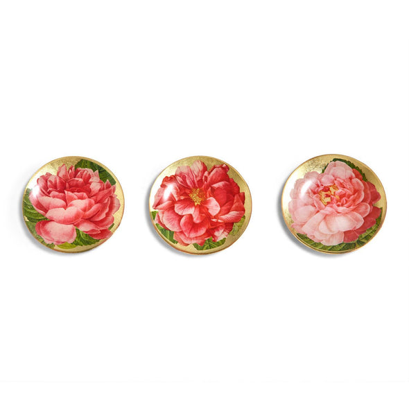 Vintage Rose Glass Trinket Trays, Floral Jewelry Dishes