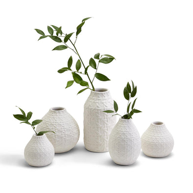 White Web Pattern Vases, Ceramic Vase Sets