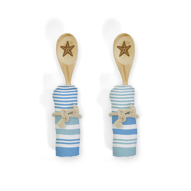Beach House Kitchen Gifts, Starfish Spoon Set, Blue Dish Towels