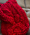 Red Chunky Knit Blanket, valentines Day Gift