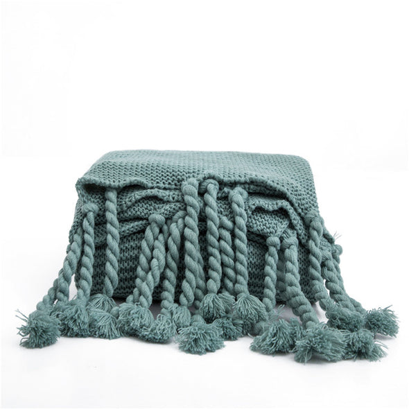 Teal Throw Blanket with Tassels, Sweater Like Throw Blanket, Green Throws