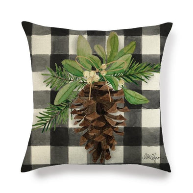 Black Flannel Pine Cone, Christmas Throw Pillow Covers Black Plaid, Watercolor