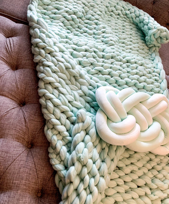 Mint Chunky Knit Blanket, Handmade USA