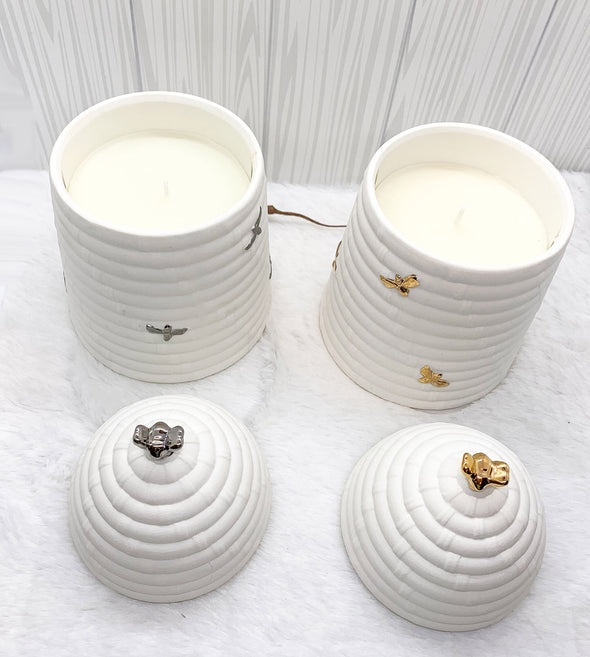 Bee Skep Porcelain candle