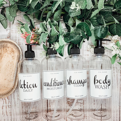 Clear Soap Bottle Sets With Black Pumps