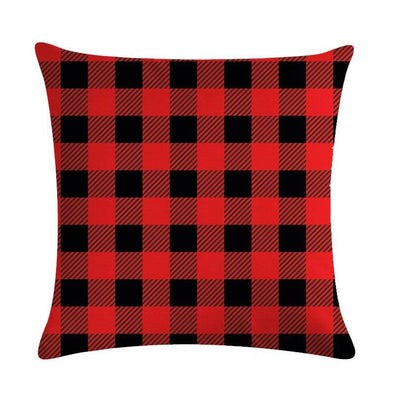 Red Flannel Throw Pillow Case, Red Gingham Pillow Cover, Flannel Home Decor
