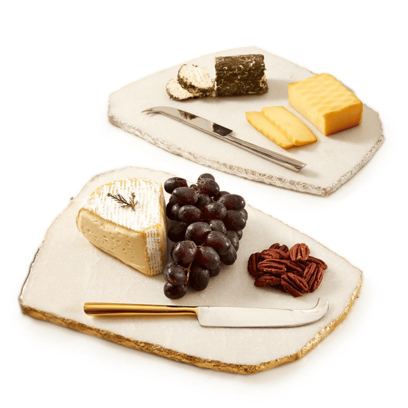 Marble Cheese Set, Gold Edge Marble Cheese Board, Silver Edge Cheese Board Set