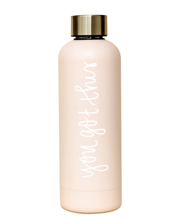 Blush Water Bottle, Rose Gold Water Bottles, Motivational and Inspirational Quote Bottles