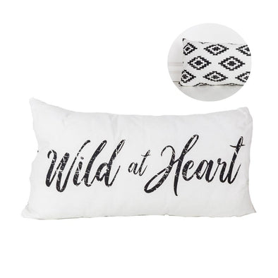 Wild At Heart Throw Pillow, Boho Throw Pillow, Aztec Pillow, Wild One Playroom Decor, BW Long Throw Pillows