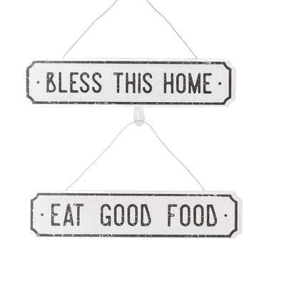 Farmhouse Wooden Hanging Signs, Bless Home & Kitchen Wood Sign