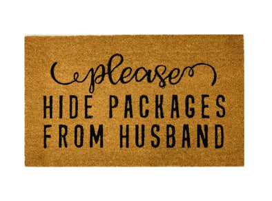 Please Hide Packages From Husband Mat, Funny Welcome Mats, Funny Quote Outside Mats, Door Mat