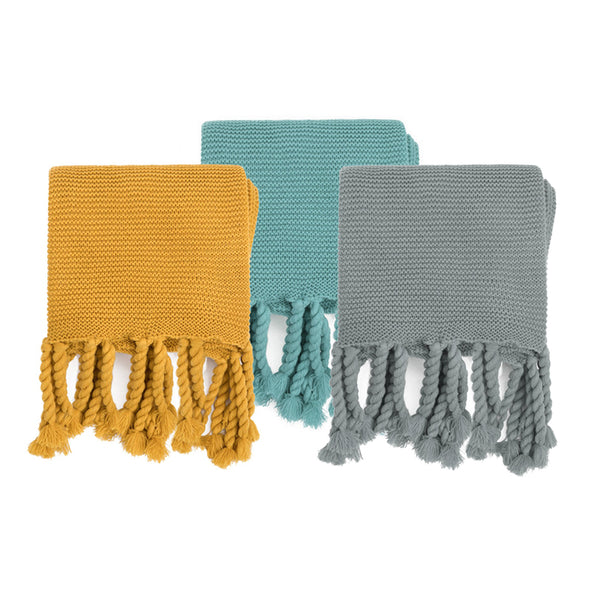 Braided Blanket, Tassel Blankets, Mustard Yellow, Teal and Olive Throws