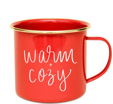 Red Ceramic Mugs, Christmas Mugs, Warm and Cozy Mugs, Stocking Stuffers, Red and Gold Coffee Cups, Winter Christmas Themed Drinkware