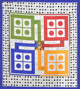 Ludo 100% Cotton Double Bedsheet With 2 Pillow Covers, Dice And 16 Tokens