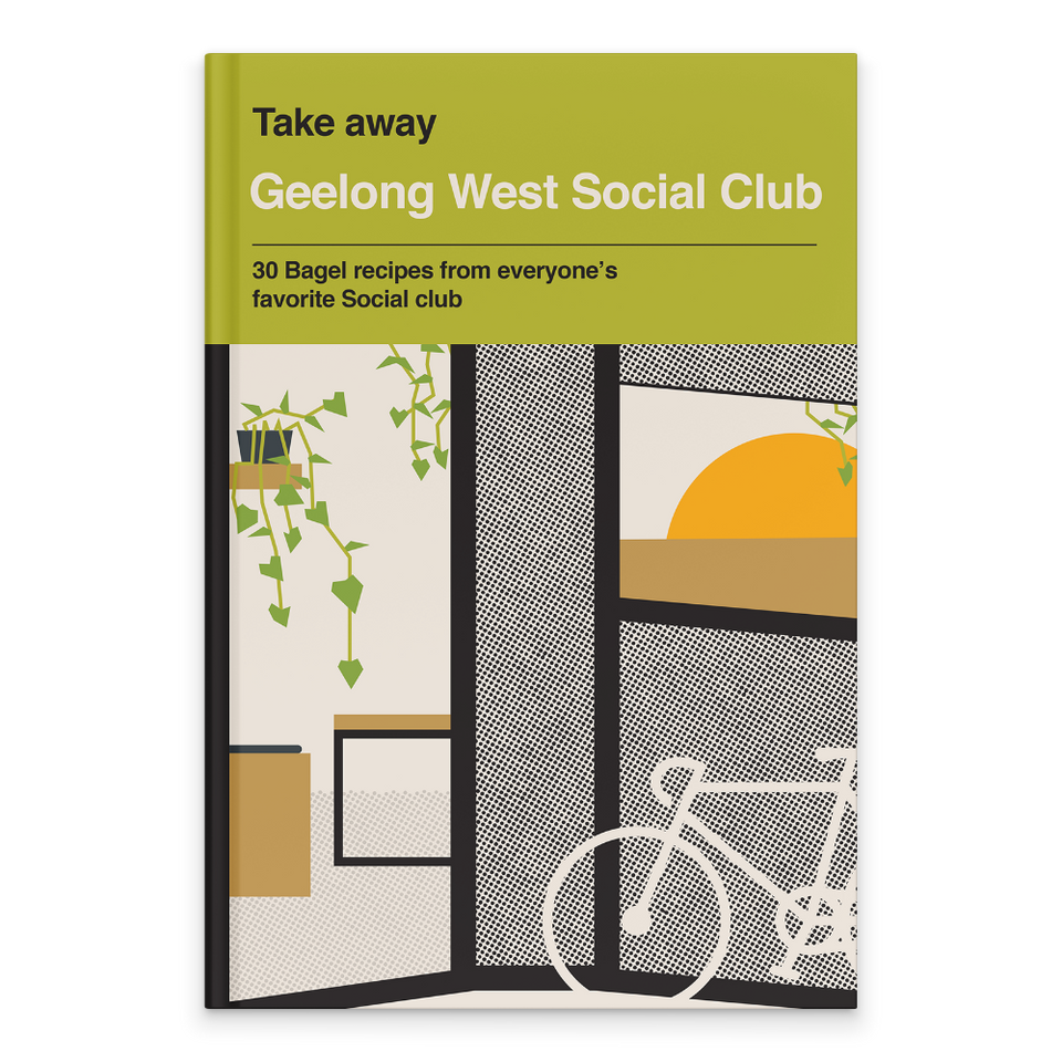 Rectangular Book Cover. Text at top on lime green background. Series: Takeaway Book Title: Geelong West Social Club Tagline: 30 Bagel Recipes from everyone's favourite social club. Below is a graphic recreation of the the bagel cafe's shop front. The outline of a bicycle on bottom right corner leaning against a black and white wall. Opening in the wall to the left of the book cover, with tables in brown inside and a green leafy plant in a black pot hanging from a shelf on the wall above the table.