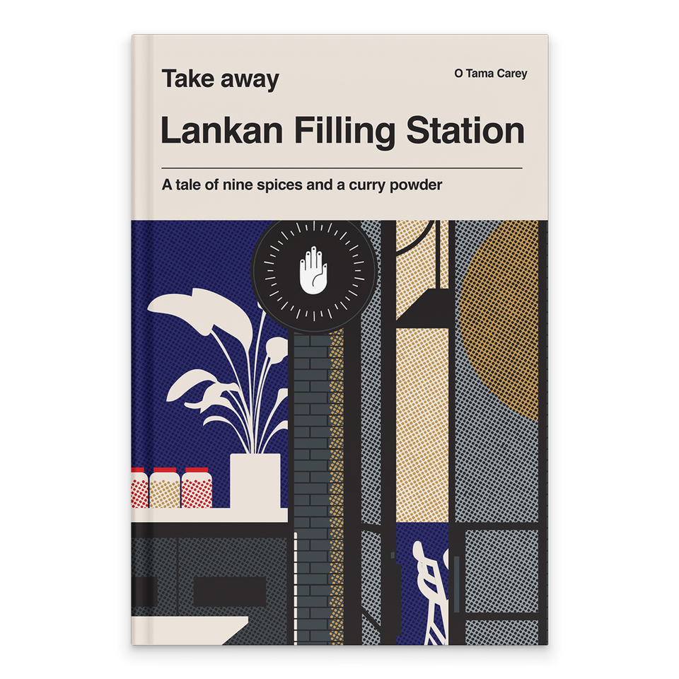 Rectangular Book Cover. Cream background at the top with text in black. Text includes. Series: Takeaway Author: O Tama Carey Title: Lankan Filling Station Tagline: A tale of nine spices and a curry powder. Below is a graphic illustration of the Sri Lankan restaurant's shop front. In Block Colours, there is an open door with outlines of seats inside. To the left there is a window with a tall plant outline in white, and three jars in red and yellow filled with dots.