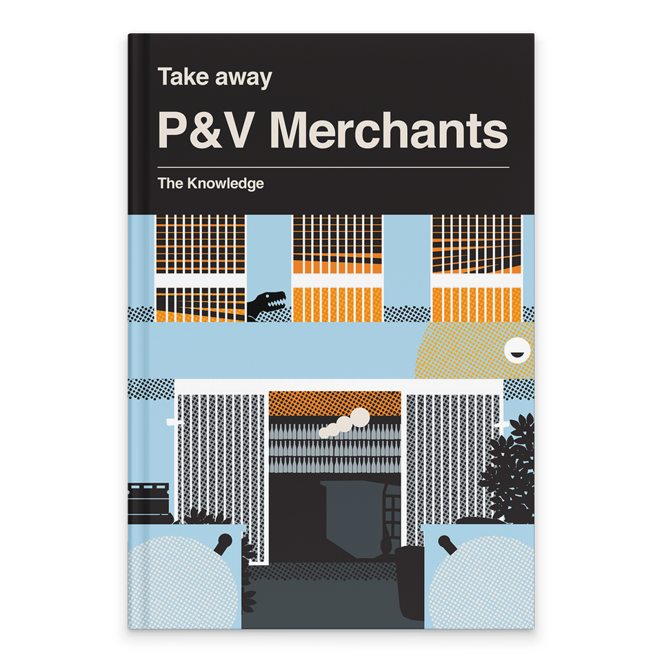 Rectangular Book Cover. Top of book cover has grey background with white text. Text includes: Take away. P&V Merchants. The Knowledge. Below is the bottle shop's shopfront as an illustration. It is light blue and two stories high. It has kegs and bins outside it in black. There is one large open door on the ground floor with three barred windows on top. Inside, we can see wine bottles on the shelves in white.