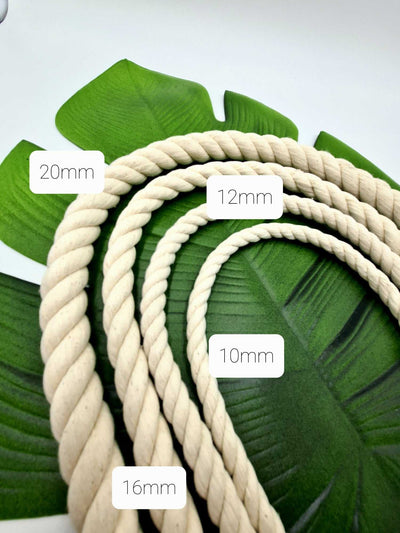 16mm Chunky Macrame Natural Cotton Rope |  3 ply Twisted Rope
