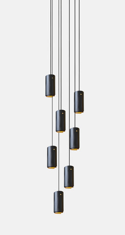 7 pendant light cluster in black and brushed brass