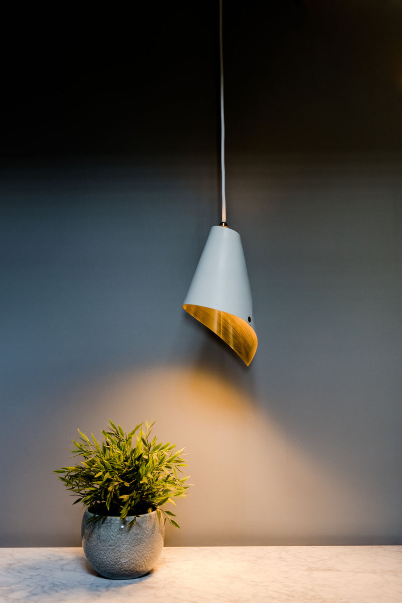 British lighting white and gold pendant light