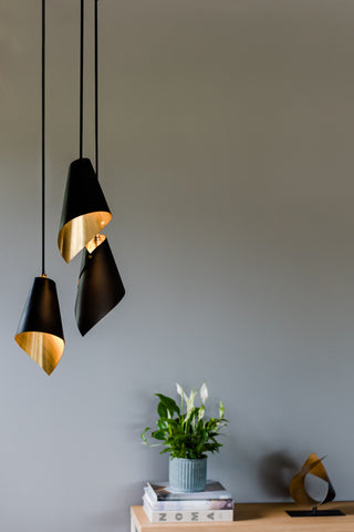 pendant cluster in black and brushed brass